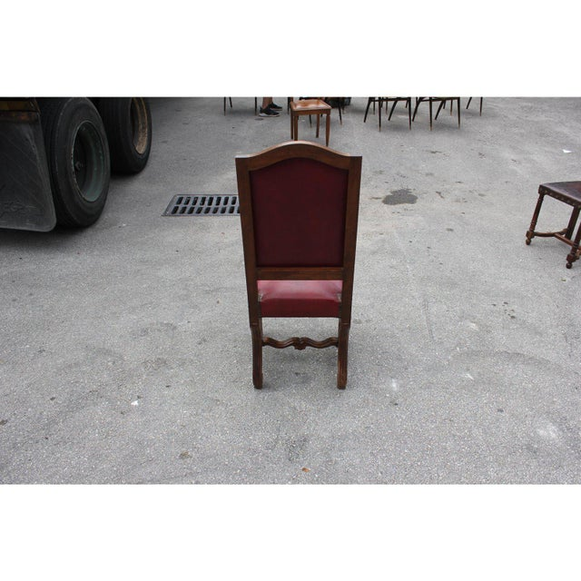 Red French Louis XIII Style Os De Mouton Red Leather Dining Chairs - Set of 6 For Sale - Image 8 of 13