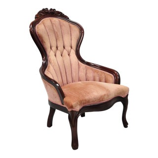 Vintage Kimball Victorian Mahogany Rose Flower Carved Parlor Chair For Sale
