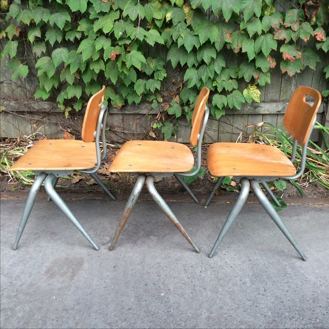 Industrial Brunswick Plywood Children's Chairs - Set of 3 For Sale - Image 3 of 7