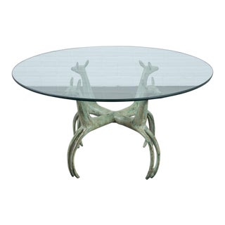 Armand Albert Rateau Style Bronze Deer Sculpture Cocktail Table For Sale