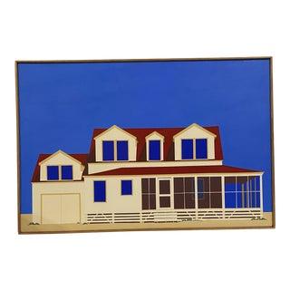 1970s Beach House Portrait Acrylic Painting, Framed For Sale