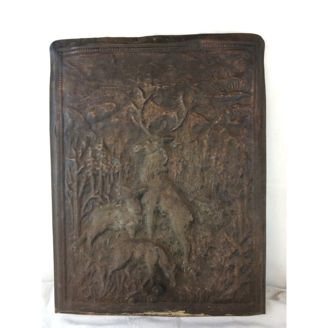 Deer Scene Antique Fireplace Screen For Sale - Image 5 of 5