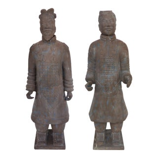 Contemporary Life-Size Chinese Terracotta Army Warriors-A Pair For Sale