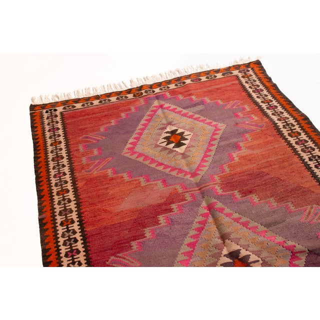 Primitive Vintage Mid-Century Red Geometric Wool Kilim Rug - 4′4″ × 9′4″ For Sale - Image 3 of 6