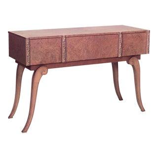 English Art Deco Parcel Gilt Maple Console Table For Sale