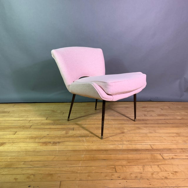 Italian 1950s Boudoir Chair, Pink Felted Wool For Sale - Image 11 of 11