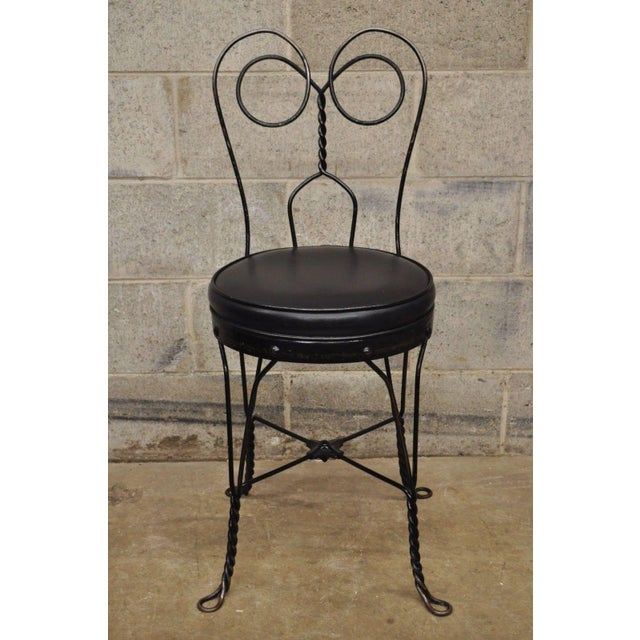 Antique Twisted Heart Back Wrought Iron Ice Cream Parlor Dining Chairs - Set of 4 For Sale - Image 10 of 11
