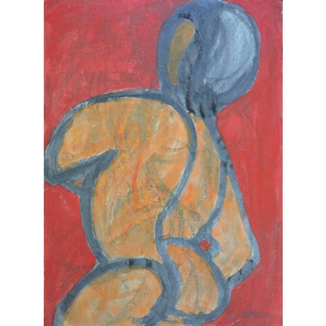 Acrylic Paint Beatnik San Francisco Artist Avrum Rubentein Figure Study Painting For Sale - Image 7 of 7