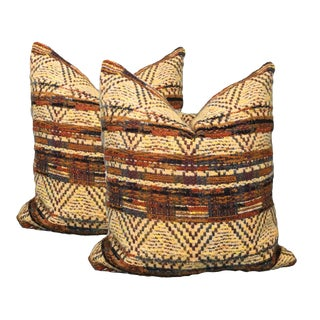 Yellow Tribal Pillows - A Pair For Sale