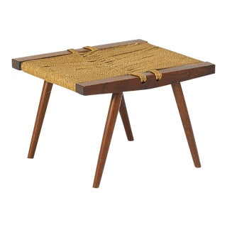 George Nakashima Grass Rope Seat Stool For Sale