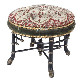 English 19th Century Faux Bamboo Stool / Bench For Sale