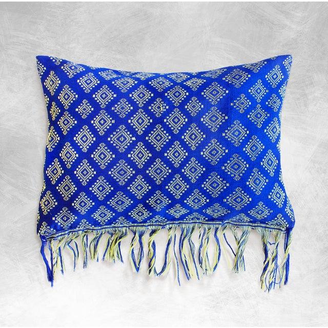 Indigo Ikat Pillow Cover, Indigo Boho Pillows - Image 2 of 3