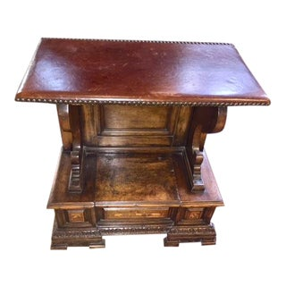 Late 18th Century Italian Walnut Leather Top Flip Top Drawer End Table For Sale