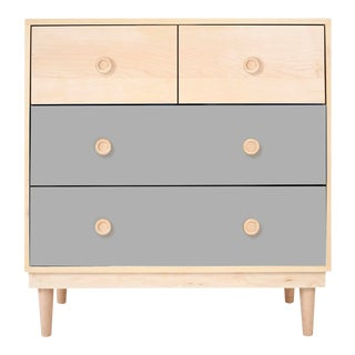 Lukka Modern Kids 4-Drawer Dresser in Maple With Grey Finish For Sale