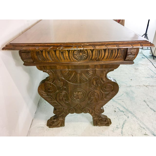 1920's Carved Walnut Library Table / Desk - Image 3 of 7