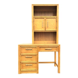 Vintage Hollywood Regency Faux Bamboo Desk With Separate Hutch Top For Sale