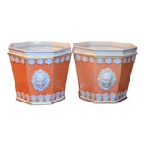 Image of 1980s Vintage Apricot & White Mottahedeh Porcelain Cachpots - a Pair For Sale