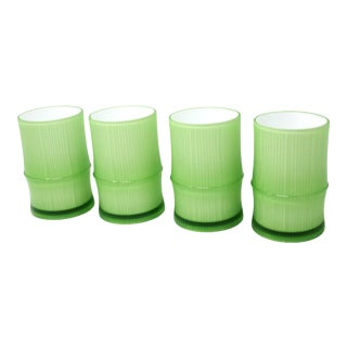 Vintage Green Bamboo Motif Tumblers - Set of 4 For Sale