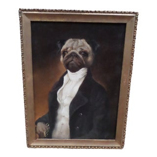 Portrait of a Pug, Contemporary Oil on Board For Sale