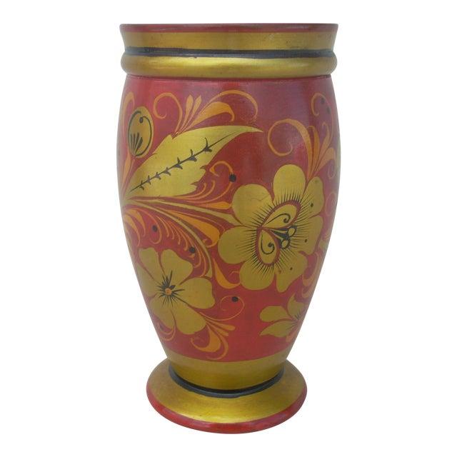 Russian Kholkoma Woodenware Vase - Image 1 of 3