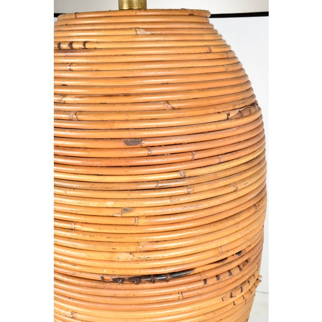 1960s Large Rattan Lamp With Shade For Sale - Image 5 of 8