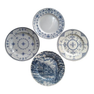 1970s English Traditional Blue and White Mismatched Plates - Set of 4