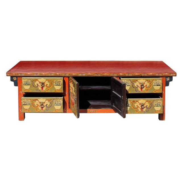 Chinese Orange Tibetan Skull Foo Dogs Console Table