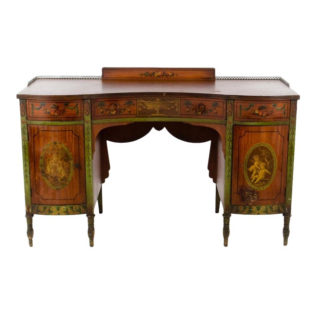 Mid 19th Century Vintage French Provincial Hand Painted Writing Desk For Sale