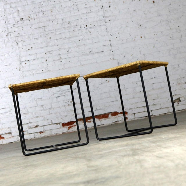 Mid 20th Century Caif-Asia Style Wrought Iron and Rattan Side Tables - A Pair For Sale - Image 5 of 13