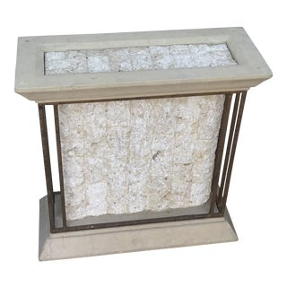 Cream Marble Stone and Brass Console Table For Sale