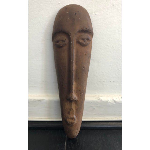 Brown Primitive Face Sculptural Wall Object For Sale - Image 8 of 8