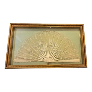 Antique Victorian Handmade Lace Fan Professionally Framed in a Shadowbox For Sale