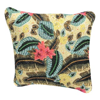 Heavily Beaded & Sequined Tropical Flower Statement Pillow