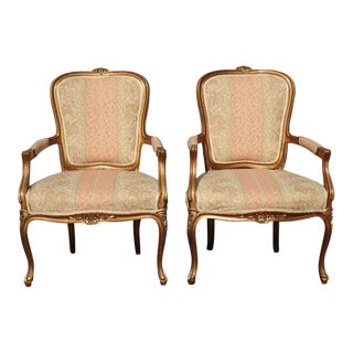 Pair of French Country Louis XVI Gold Rose Stripped Accent Chairs For Sale