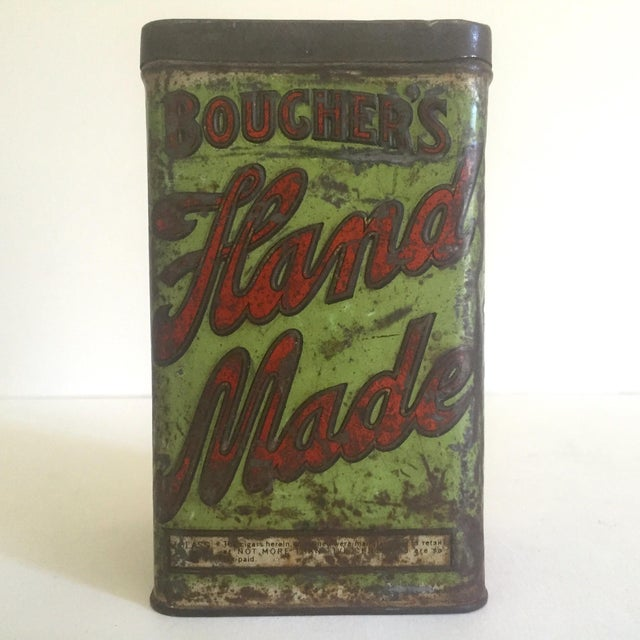 "Americana Vintage Early 1900's ""Boucher's Handmade"" Tobacco Tin Box For Sale - Image 3 of 11"