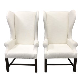 Restoration Hardware French White Linen Wingback Chairs - a Pair For Sale