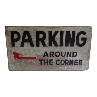 Vintage Double-Sided Wooden Parking Sign For Sale