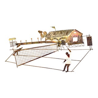 1960s Mid Century Modern Painted Brass Tennis Scene Wall Sculpture For Sale