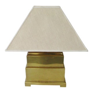 Vintage Mid 20th Century Frederick Cooper Brass Pagoda Table Lamp With Lamp Shade For Sale