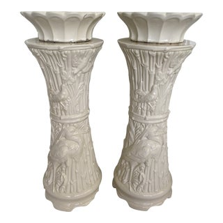 Vintage Hollywood Regency Faux Bamboo Planters-Pair For Sale