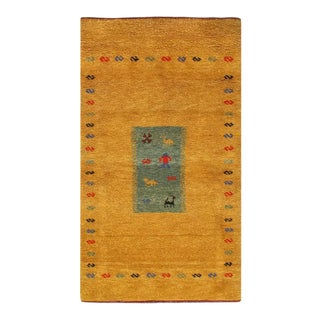 Pasargad Gold Color Fine Hand Knotted Gabbeh Rug- 3′2″ × 5′4″ For Sale