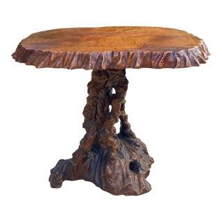 Vintage Boho Chic Hand Carved Side Table For Sale