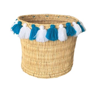 Moroccan Turquoise and White Tassel Large Basket For Sale