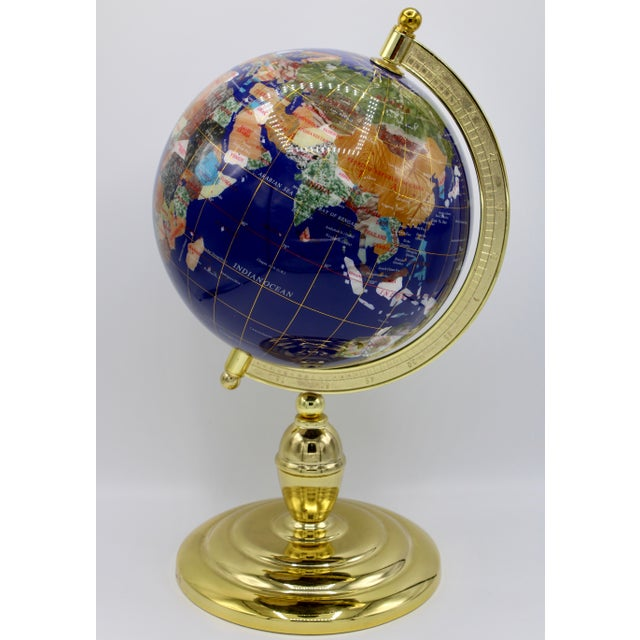 Vintage Blue Lapis World Globe on Brass Stand With Semiprecious Gems For Sale - Image 13 of 13