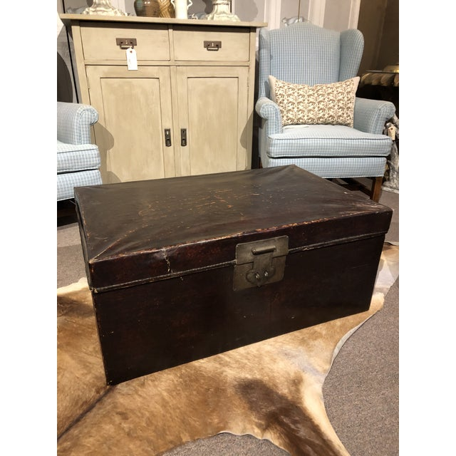 19th Century Chinese Leather Trunk For Sale - Image 13 of 13