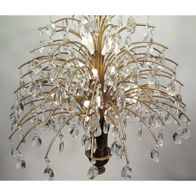 Vintage Mid Century Palm Spray Crystal Chandelier - Image 3 of 8