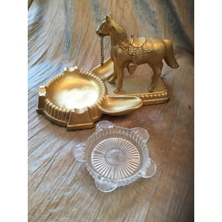 1940s Figural Horse Brass Pipe Holder & Ashtray Preview