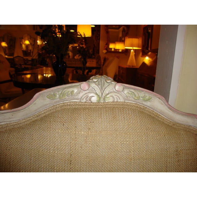 French Louis XVI Style Paint Decorated Bergère Armchair For Sale - Image 3 of 9