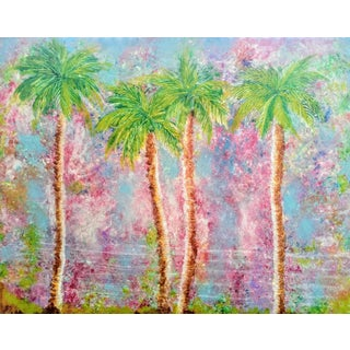 Large Original Tropical Palm Tree Painting For Sale