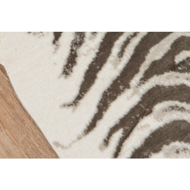 "Modern Erin Gates by Momeni Acadia Zebra Grey Faux Hide Area Rug - 5'3"" X 7'10"" For Sale - Image 3 of 7"